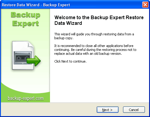Any backup file with important data can be easily restored using Backup Expert software